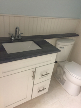 Bathroom Remodel Contemporary White Shaker Cabinets Gray Counters