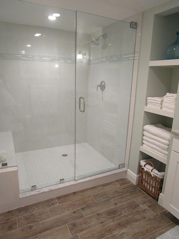 Shower Remodel White Tile